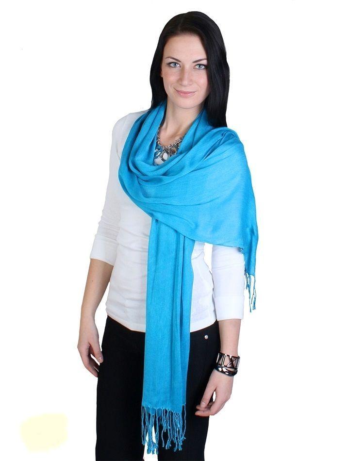 "Blue Pashmina Silk Blend Fashion Scarf Wrap 72"" X 40"" NEW NWT #NorthSouthFashions #Pashmina"