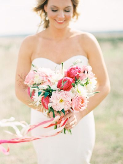 Pretty pink bouquet: http://www.stylemepretty.com/2015/06/17/colorful-hill-country-dinner-party-inspired-wedding/ | Photography: Love, The Nelsons - http://www.soshayblog.com/