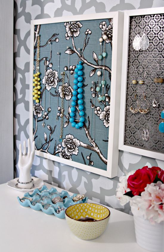 necklace pin board & earring display over vanity