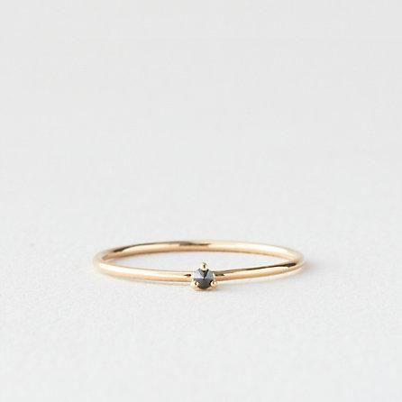TINY SOLITAIRE RING WITH BLACK DIAMOND /