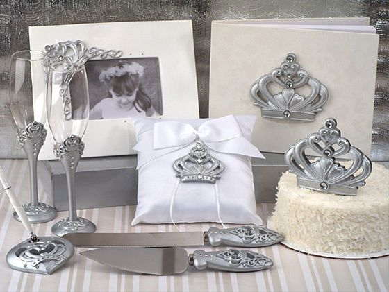 Guest Books and Pens 20940: White And Silver Cinderella Crown Wedding Guest Book Ring Pillow Accessory Set -> BUY IT NOW ONLY: $76.95 on eBay!