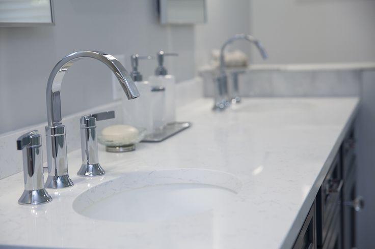 Bathroom Countertop In Coarse Carrera Dupont Zodiaq