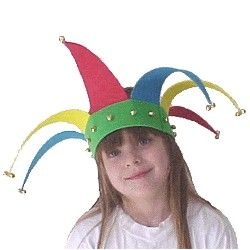 Make a jester's had, but let's do purple, green, and yellow...get it right folks!