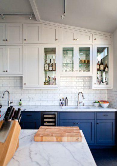 navy + white marble kitchen