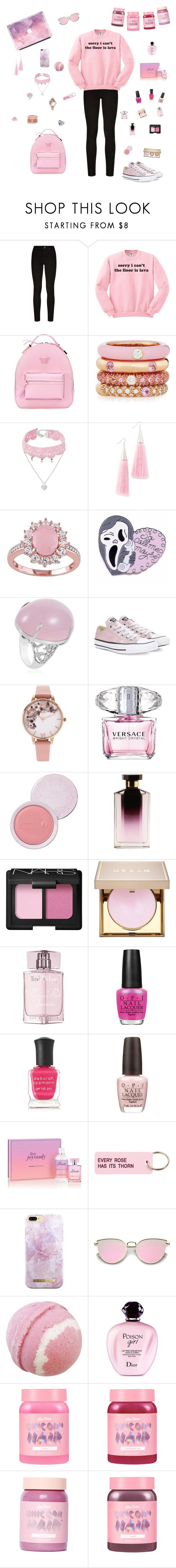 """Positively Pink"" by fxllenrose ❤ liked on Polyvore featuring Paige Denim, Versace, Adolfo Courrier, Design Lab, Eddie Borgo, Converse, Olivia Burton, 100% Pure, STELLA McCARTNEY and NARS Cosmetics"