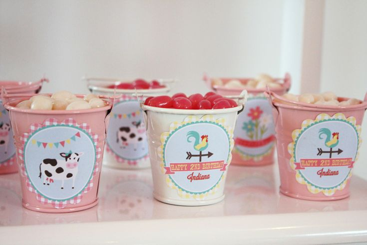 A Gorgeous Pastel Barnyard Party: Buckets of jellybeans in farm cans
