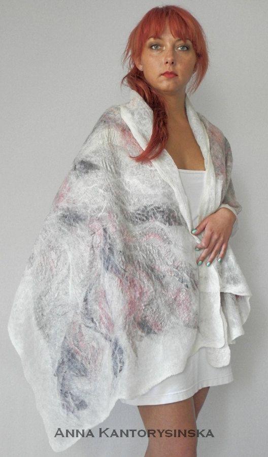 nuno felted silk scarf shawl wrap FLAMINGO by kantorysinska, $154.00