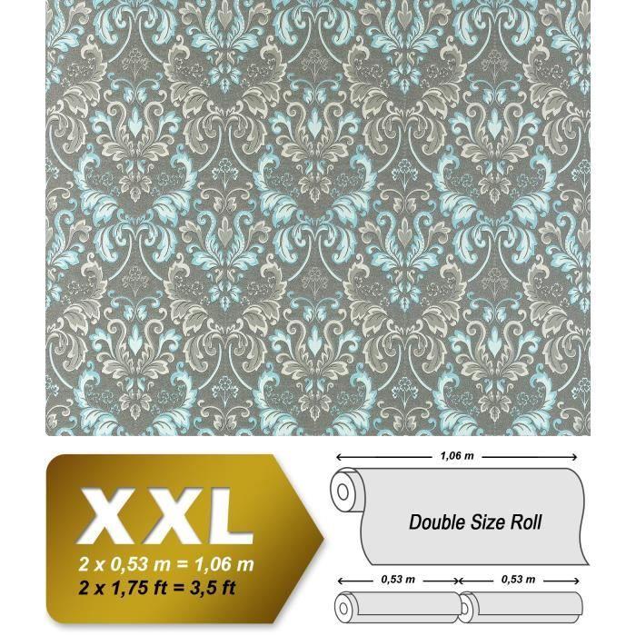 PAPIER PEINT Papier peint intissé néo-baroque damas EDEM 966-27 royal gris turquoise | 10,65 m2