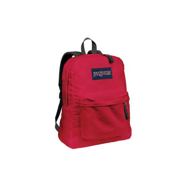 JanSport Superbreak Backpack ($36) ❤ liked on Polyvore featuring bags, backpacks, jansport daypack, jansport rucksack, rucksack bags, backpack bags and red backpack