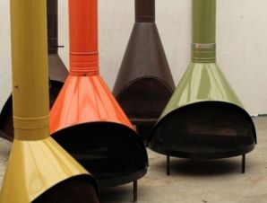 Free standing cone fireplace