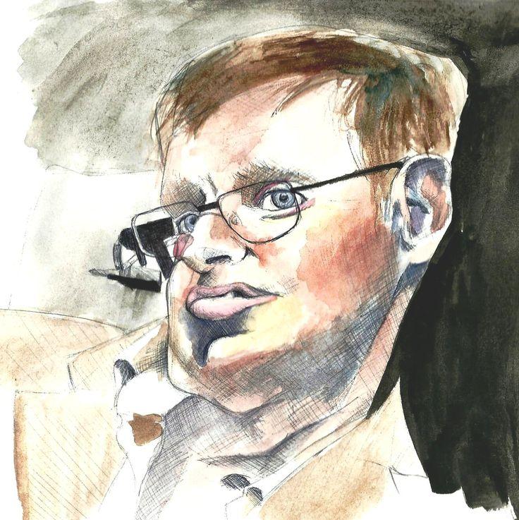 Stephen Hawking, watercolour on paper.
