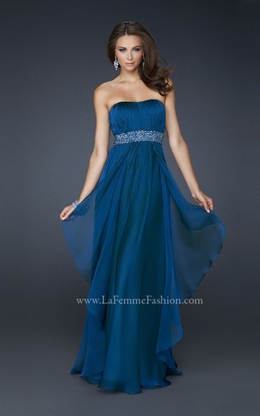 Picture of Teal Evening Dresses, Chiffon Bridesmaid Dresses Long, Evening Dresses
