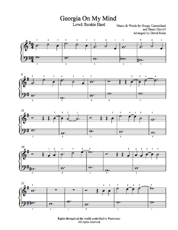 Georgia On My Mind by Ray Charles Piano Sheet Music | Rookie Level