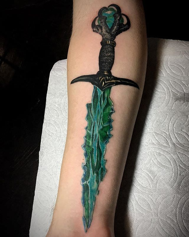 Crystal dagger tattoo on a forearm done by me Andre Garcia @ Apothic ...