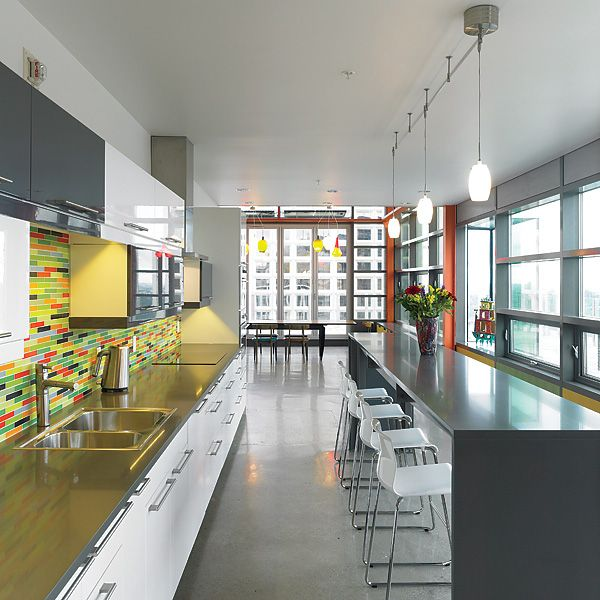 eco friendly penthouse is predominately grey and white