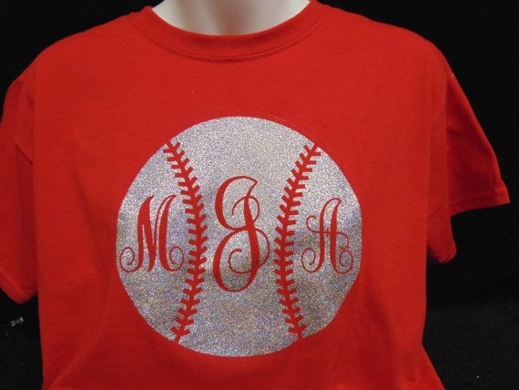 LOVE LOVE LOVE!! Glitter Monogrammed Baseball TShirt by MonogramsbyMarilyn on Etsy, $22.00