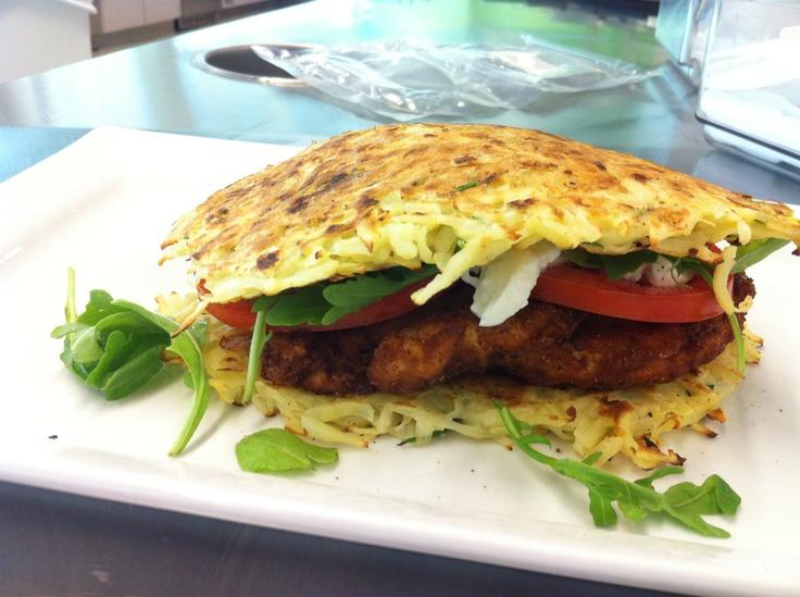 Potato rosti, breaded #chicken cutlet, tomato and buffalo mozzarella  #yum