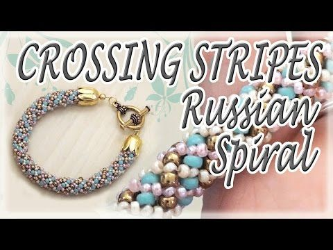 (7) Crossing stripes Russian Spiral Tutorial - How to make a bracelet - Beading tutorial - YouTube