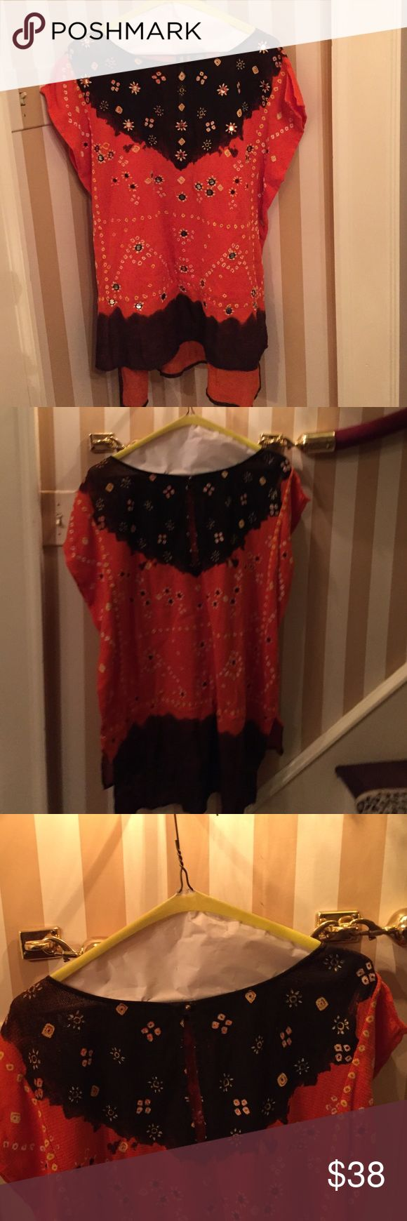 Hippie Chic Bohemian Blouse/Tunic. XS/TP Unique Blouse/Tunic. Longer in Back. Great with leggings, boots, cut-offs, jeans, etc. Cute Mirror details. New Romantics by Free People. XS/TP Free People Tops Blouses