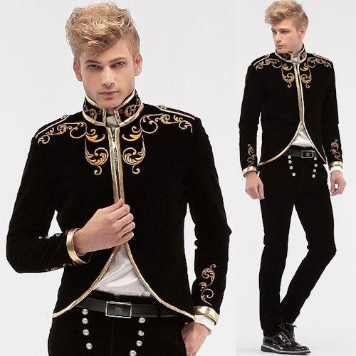 Black Embroidered Vintage Victorian Style Wedding Dress Suit Jacket Men SKU-123465