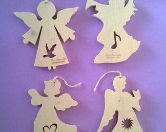 Adornos de madera ángel Ángel de la Navidad por latwoodyworld
