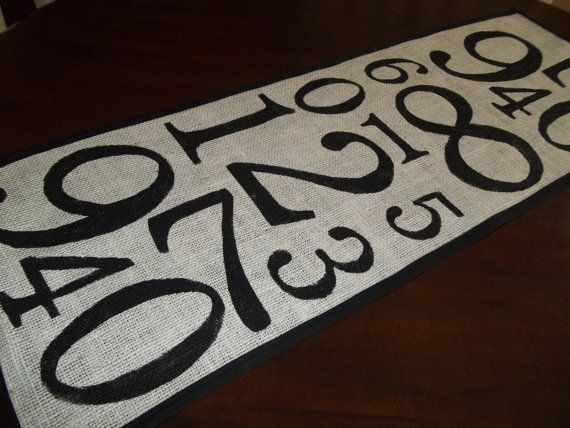 burlap numbers table runner pottery barn
