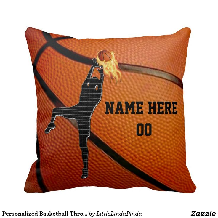 Your NAME and NUMBER Basketball Throw Pillows or your text or delete. Basketball player shooting a FLAMING Basketball pillow. CLICK: http://www.zazzle.com/personalized_basketball_throw_pillow_withyour_text-189005202180061467?rf=238147997806552929 Fantastic basketball team gifts for boys. Back of these basketball pillows have a large flaming basketball. Basketball gifts for players: http://www.zazzle.com/littlelindapinda/gifts?cg=196162425693614068&rf=238147997806552929 Call Linda…