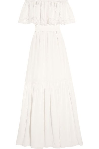 Temperley London - Felicity Off-the-shoulder Lace-trimmed Silk Crepe De Chine Gown - Ivory