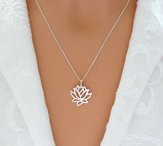 Lotus Necklace, Sterling Silver Flower Necklace, Christmas Gift, Lotus Jewelry, Best Friend Gift, Gift for Sister, Mom, Friend