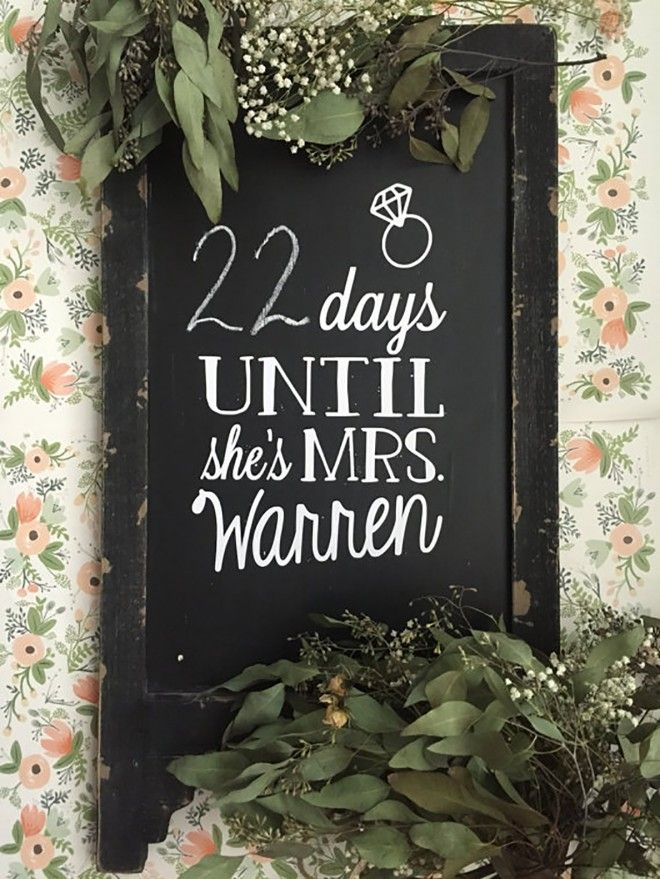 Adorable Days Until Shes A Mrs Sign!