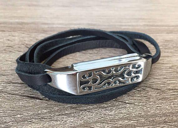 Handmade Wraparound Leather Bracelet for Fitbit Flex 2 Tracker