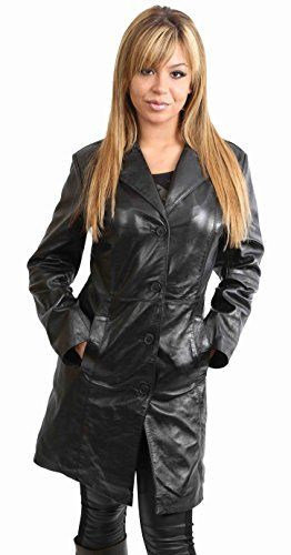 Womens 3/4 Long Leather Coat for Ladies Fitted Knee Length Macey Black Brown Red (MEDIUM, Black)