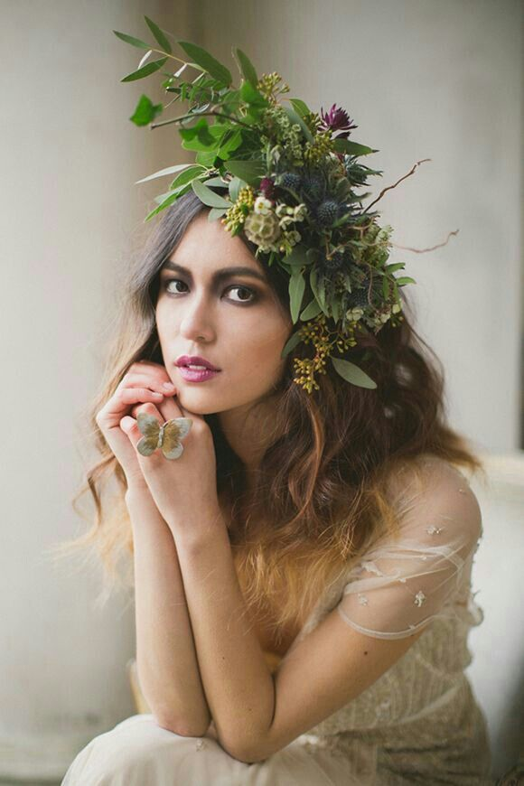 Incredible Fresh Floral Bridal Headdress: Blue Eryngium Thistle, Purple Anthurium, Dried Scabiosa Pods, Green Seeded Eucalyptus, Olive Leaf/Branch, + Several Other Varieties Of Greenery/Foliage............