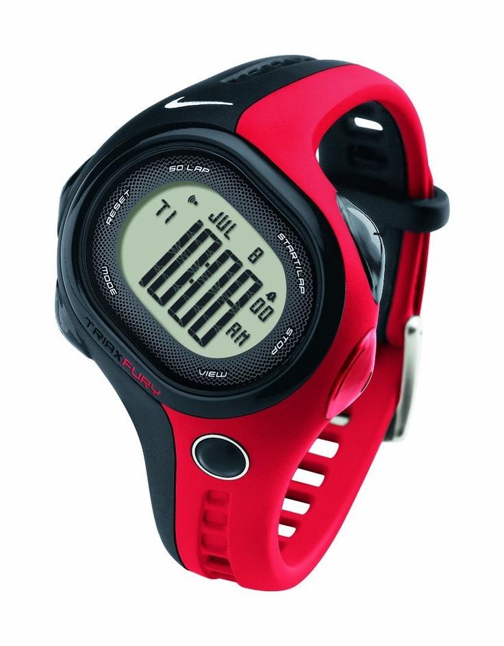 Nike Unisex Fury 50 Regular Watch - BLACK/SPORT RED One Size, (nike watches, sport watch)