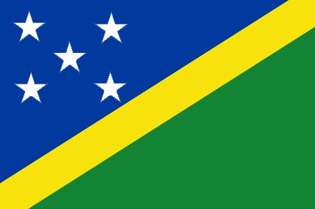 The flag of the Solomon Islands was officially adopted on November 18, 1977.         The five white stars represent the five main island groups. Blue is said to represent the surrounding ocean; green represents the land, and the yellow stripe is symbolic of sunshine