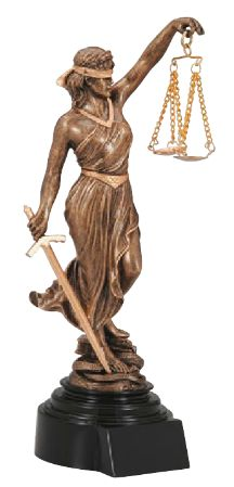 """The Lady Justice Resin Trophy is a timeless symbol of justice. Great for your favorite judge or lawyer. 10.5"""" tall"""