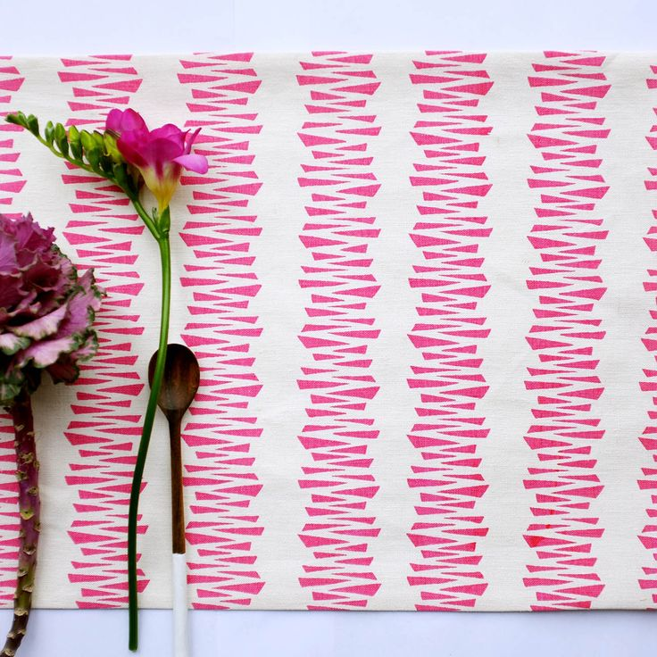 Table Runner 'Shattered Stripe' Pink, available from http://courtneyclaire.bigcartel.com/
