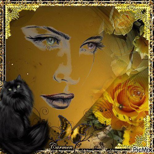Volto di donna e gatto in giallo e nero
