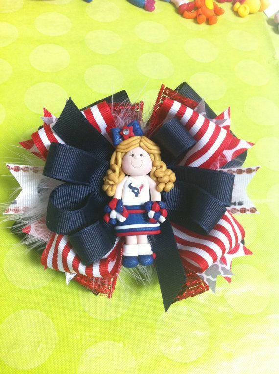 Houston Texans Cheerleader OTT Bow by BakeryBows on Etsy, $18.00