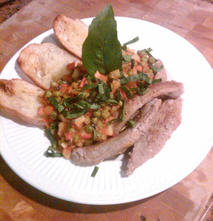 Piselli Alla Paesana con salsiccia di tacchino (Saute of Peas, potatoes, and tomatoes served along side turkey Sausage).
