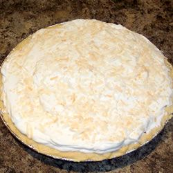 Old Fashioned Coconut Cream Pie Allrecipes.com-substitute  1 1/2 cups half and half 1 1/2 cups coconut milk and 1/3 cup cornstarch instead of flour.  Top with real whipped cream and toasted cocoanut.