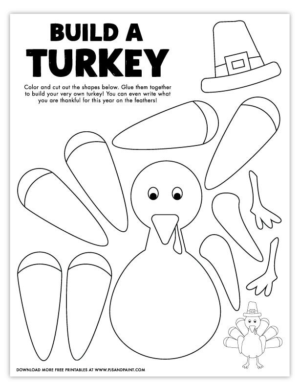 Free Printable Build A Turkey Coloring Page Pjs And Paint Thanksgiving Activities For Kids Turkey Coloring Pages Thanksgiving Preschool
