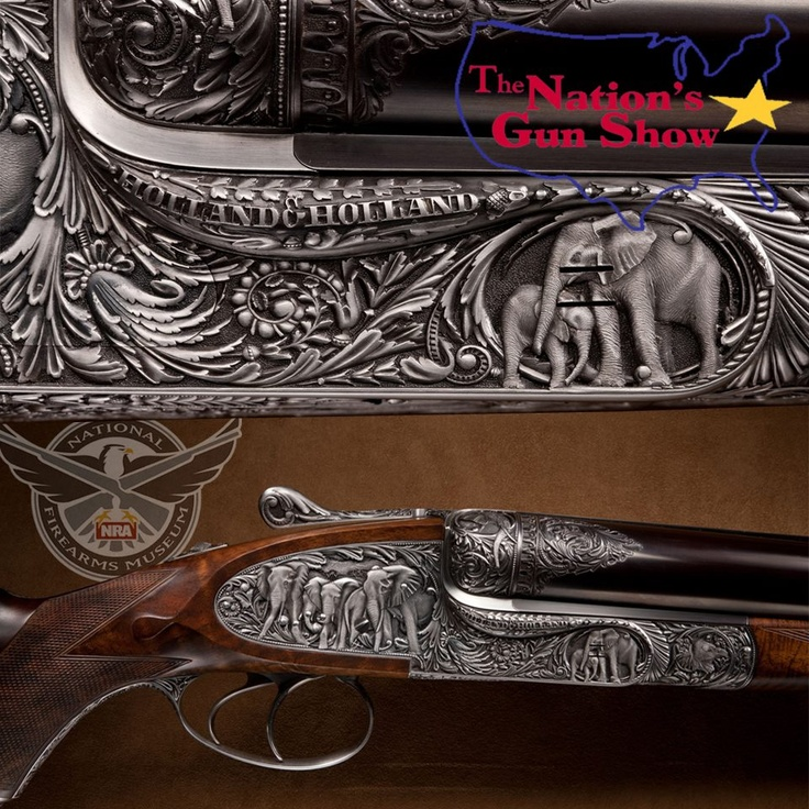 HOLLAND & HOLLAND .700 NITRO EXPRESS DOUBLE RIFLE: This rifle is engraved in deep relief with scenes of African elephants by Phillipe Grifnee. It can generate more than 15,000 foot/pounds of energy in firing one of the 1000-grain projectiles of the .700 Nitro Express cartridges.