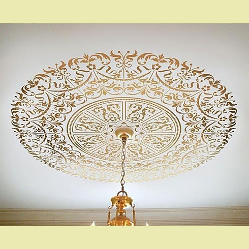 ceiling medallion stencil with metallic paint