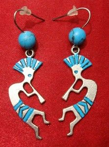 Turquoise Kokopelli earrings with stainless steel hooks. No more sore ears! Click on pic for details.
