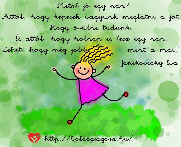 Janikovszky Éva idézet az optimista szemléletről. A kép forrása: Boldogságóra
