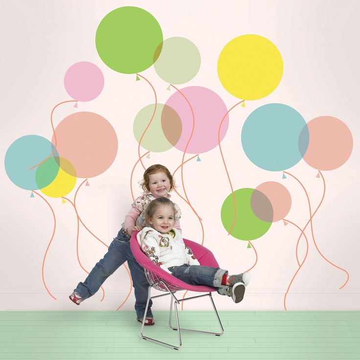 Pastel balloons wall stickers.Peel & stick vinyl. Removable, reusable, non-toxic, BPA free. Made in USA. $45.00