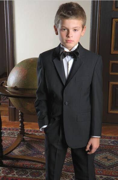 Boys Formal Attire Wedding Evening Clothes Customized Black Suit Set Baby Boy Blazer Kid Tuxedos