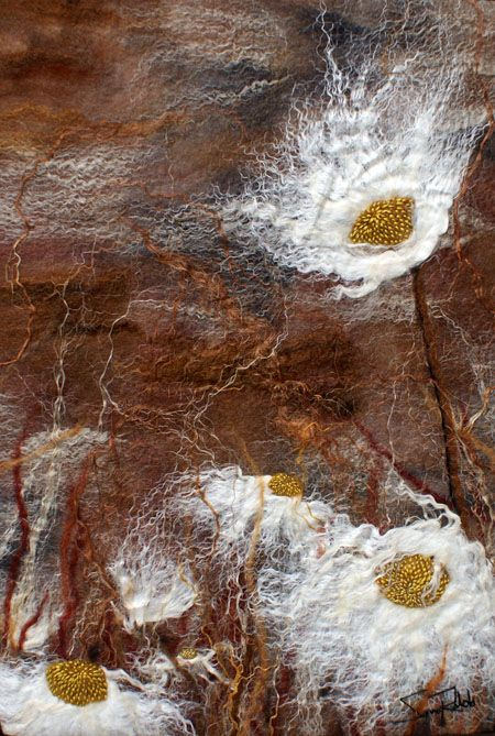 Daisies at Dusk 2 - Sanna Rahola - Hand-dyed merino wool, silk, linen, hemp, mohair, metallic fiber and a black walnut frame