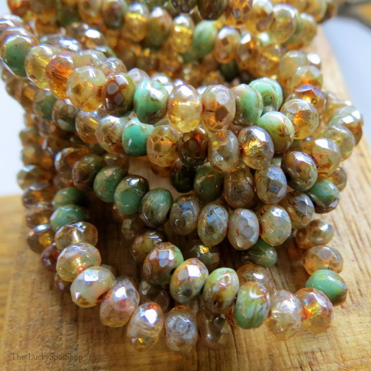 NEW Summer Blend . CZECH Faceted PICASSO Rondelles (30 beads) 5 by 3 mm by LuckySpotShop on Etsy
